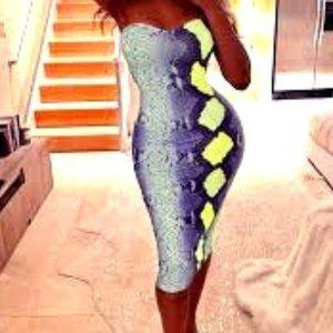 Slithering Neon Midi Dress
